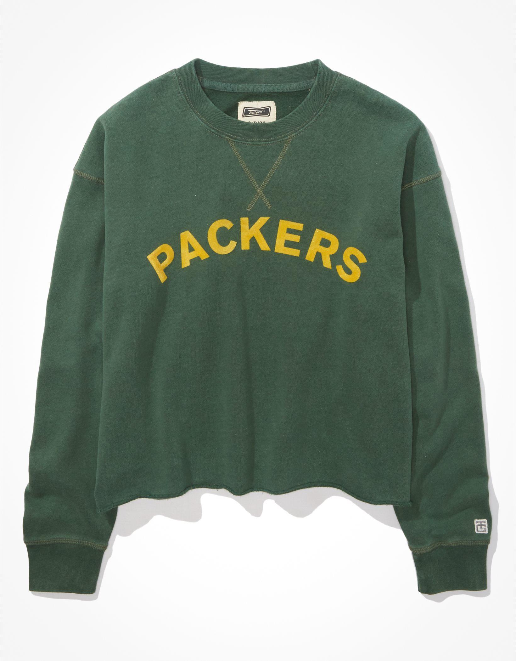 Tailgate Women's Green Bay Packers Raw Hem Sweatshirt