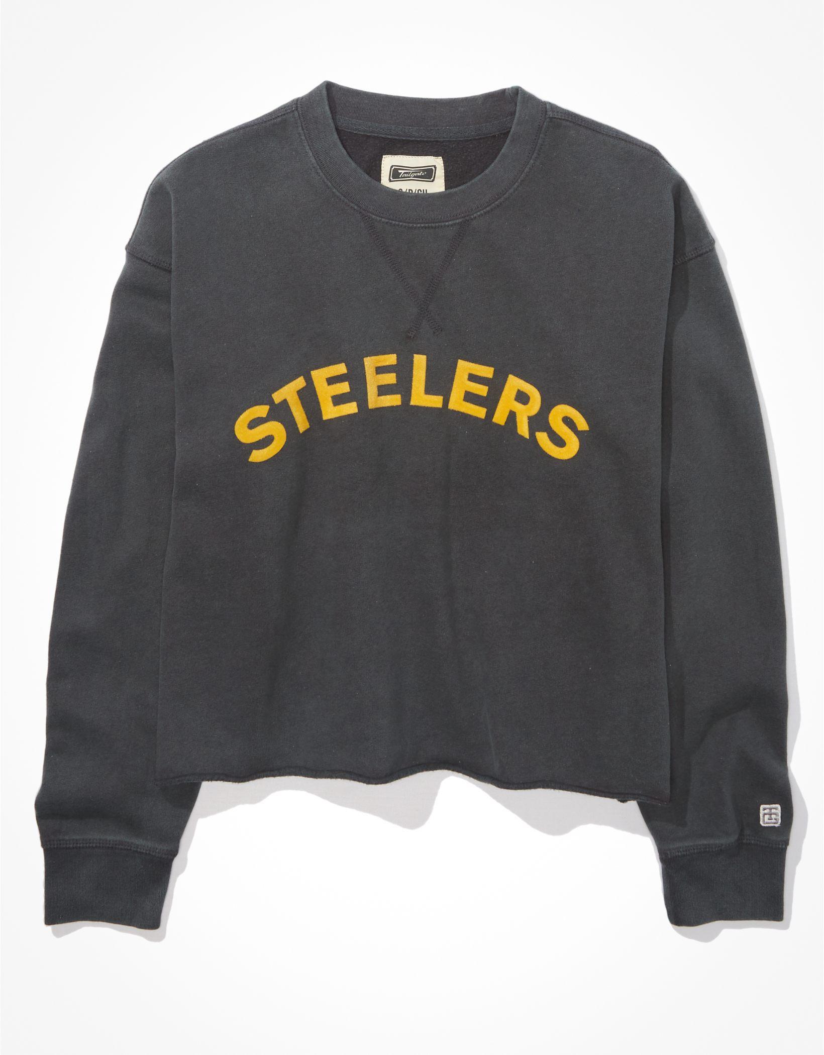 Tailgate Women's Pittsburgh Steelers Raw Hem Sweatshirt