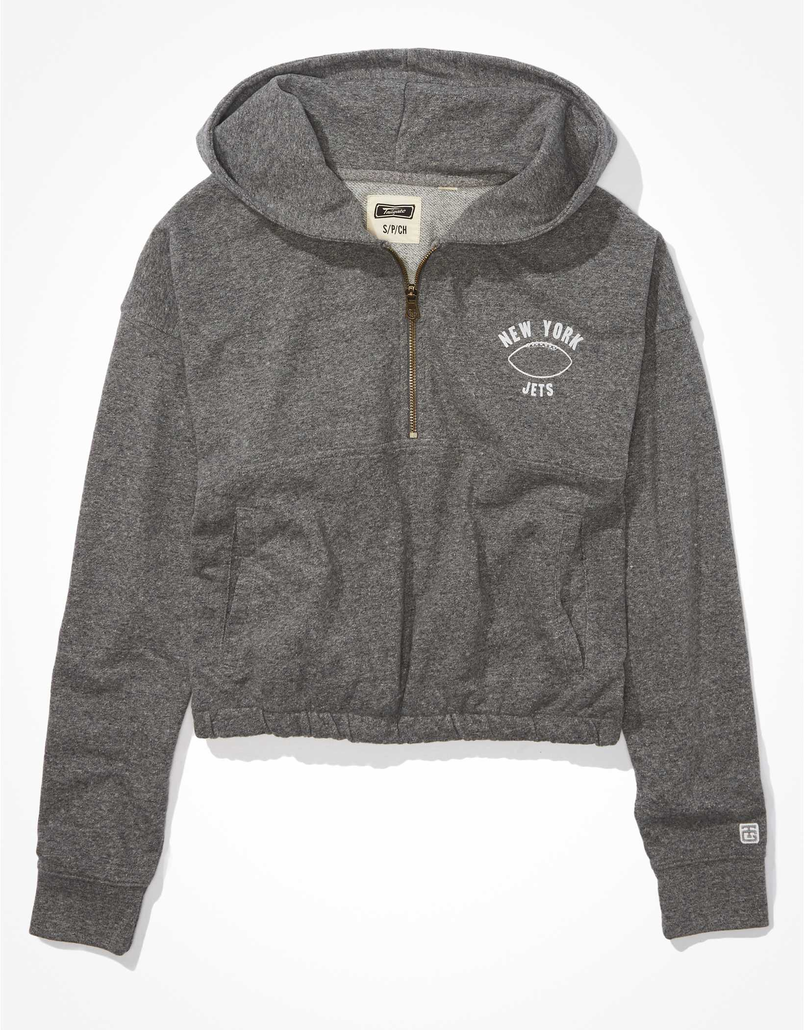 Tailgate Women's New York Jets Cinched 1/2 Zip Hoodie