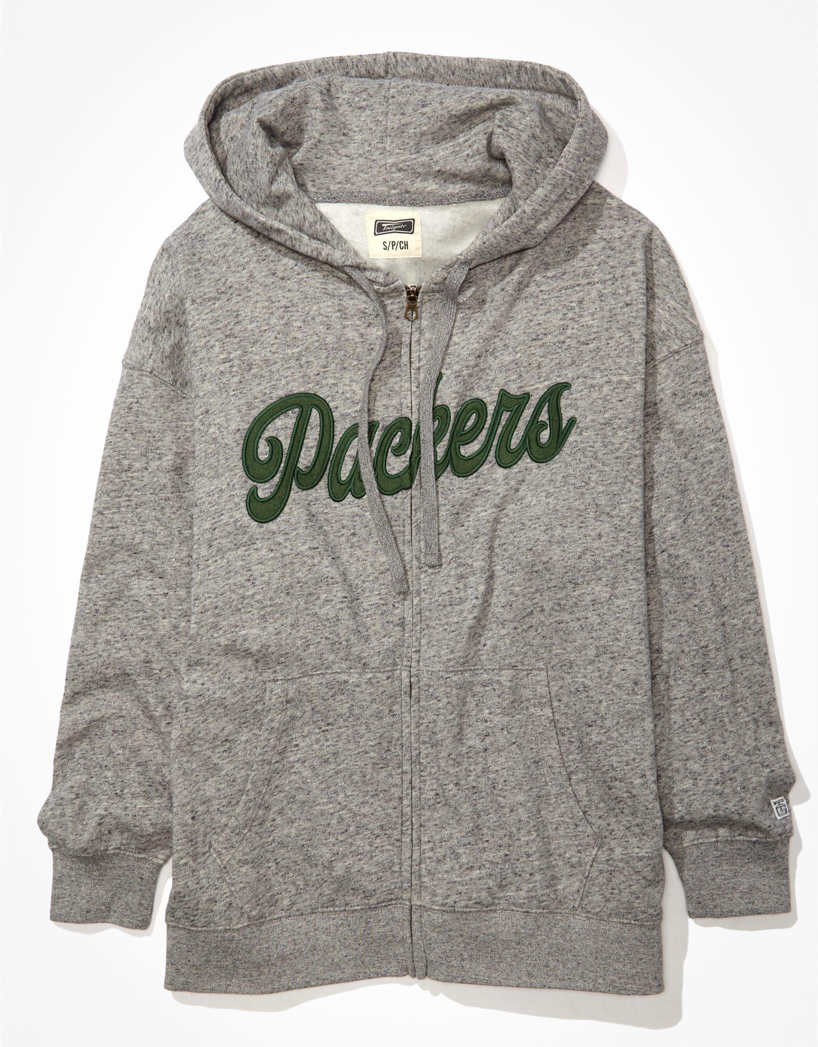 Tailgate Women's Green Bay Packers Oversized Zip-Up Hoodie