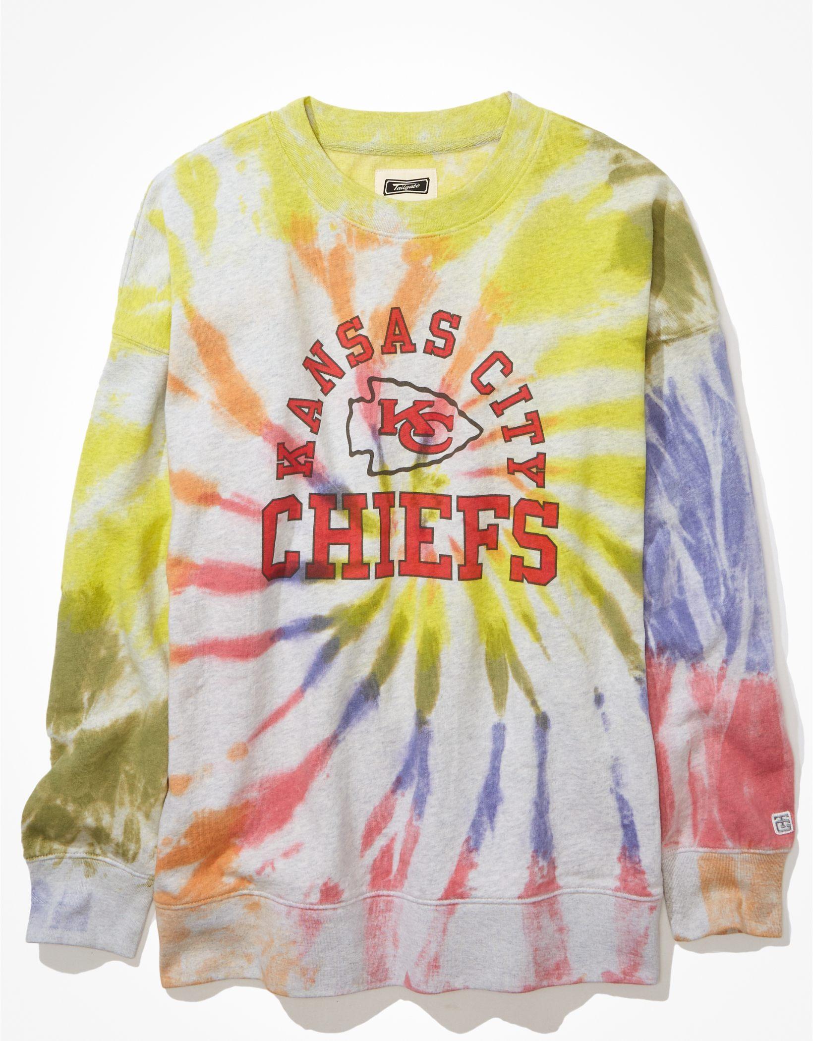 Tailgate Women's KC Chiefs Oversized Tie-Dye Sweatshirt
