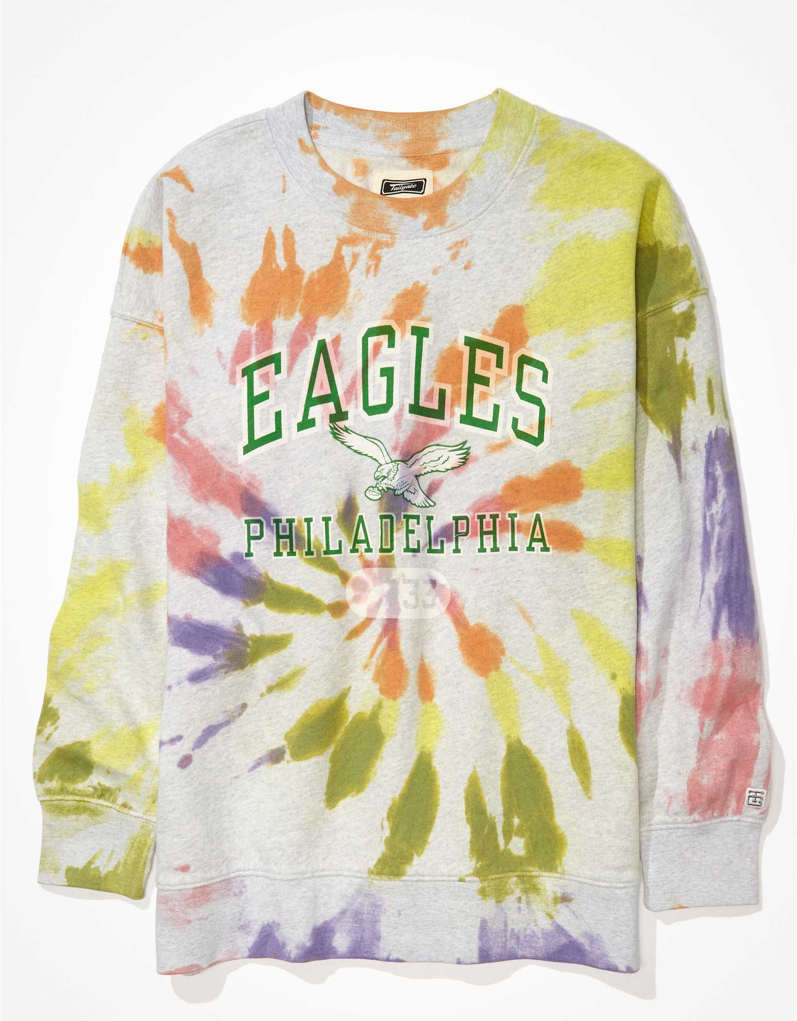 Tailgate Women's Philadelphia Eagles Oversized Tie-Dye Sweatshirt