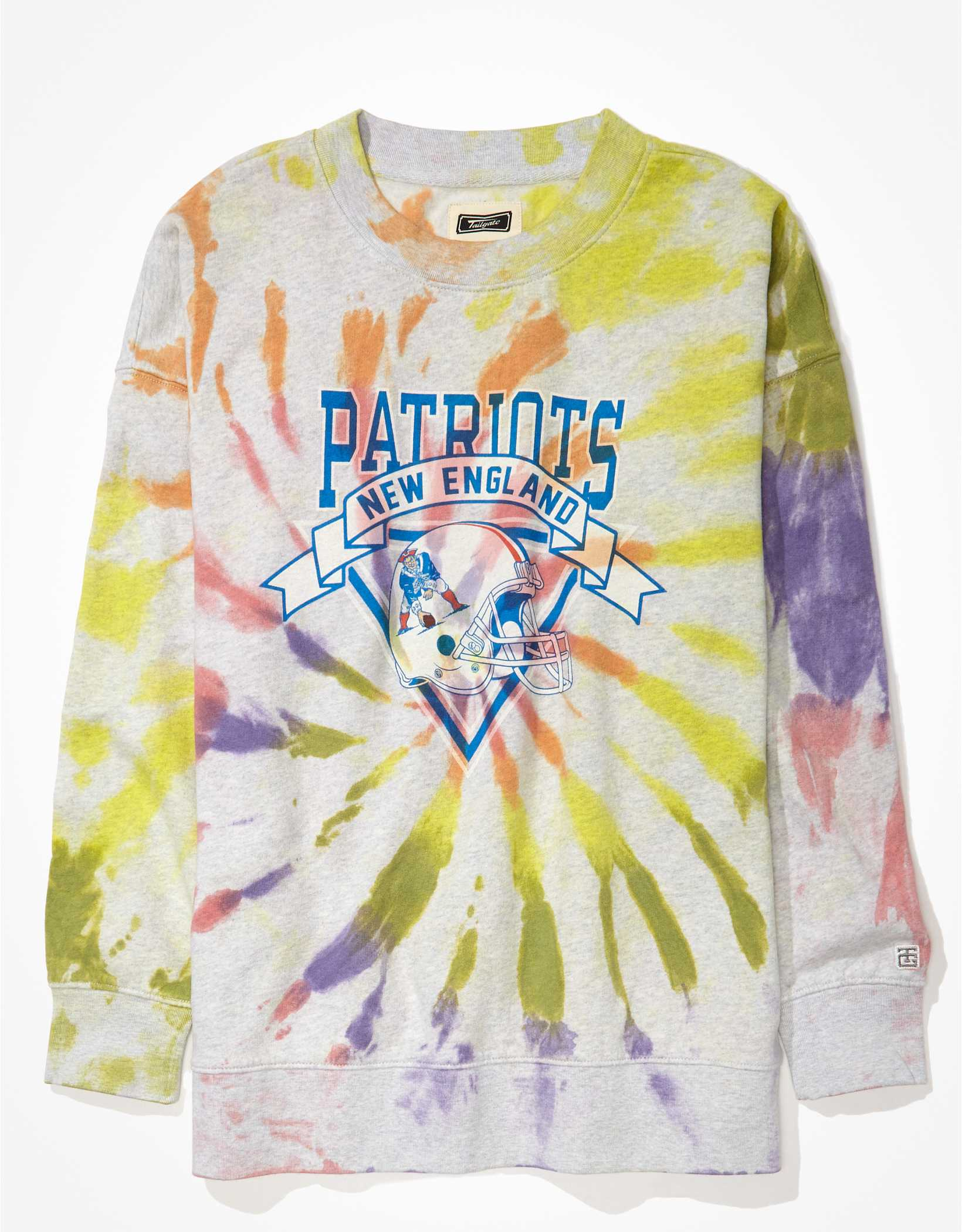 Tailgate Women's New England Patriots Oversized Tie-Dye Sweatshirt
