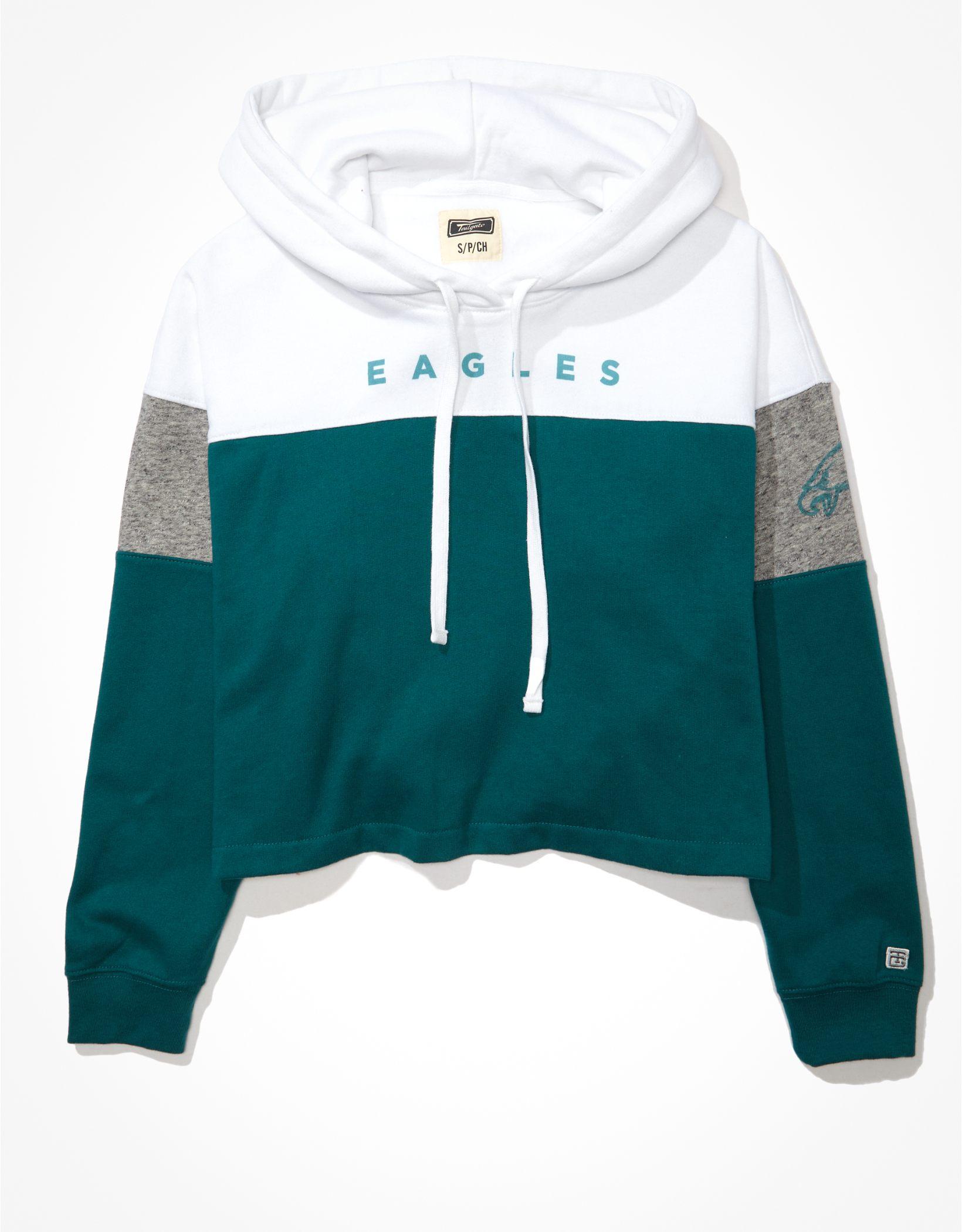 Tailgate Women's Philadelphia Eagles Cropped Colorblock Hoodie