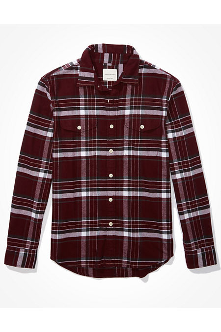 1980s Clothing, Fashion   80s Style Clothes AE Flannel Shirt Mens Burgundy XL $44.95 AT vintagedancer.com