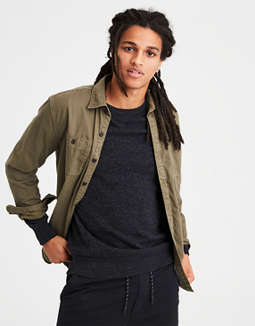 Ae Flannel Lined Button Down Overshirt by American Eagle Outfitters