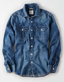 AE Long Sleeve Denim Button Up Shirt
