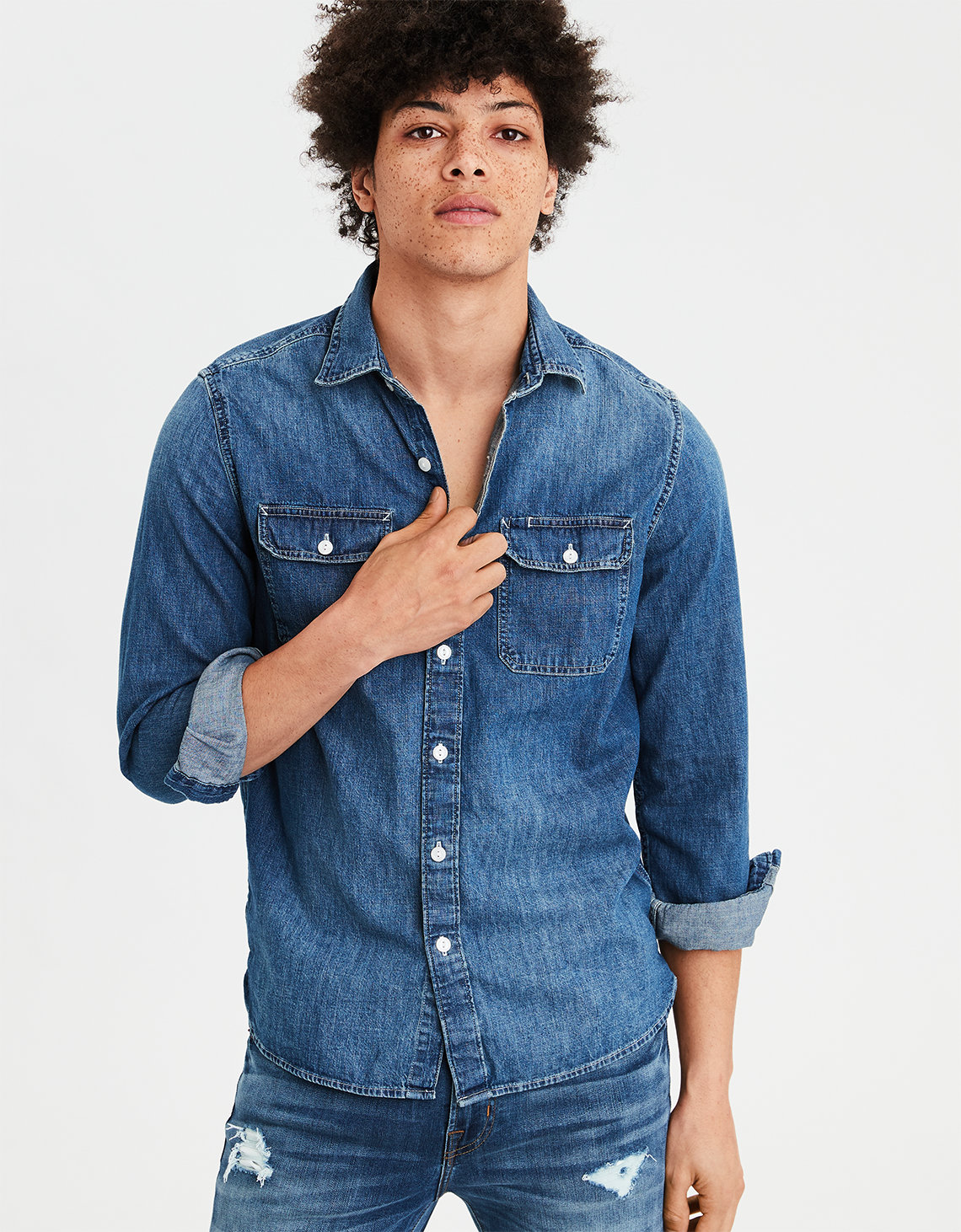 457d87dda37 AE Long Sleeve Denim Button Down Shirt. Placeholder image. Product Image