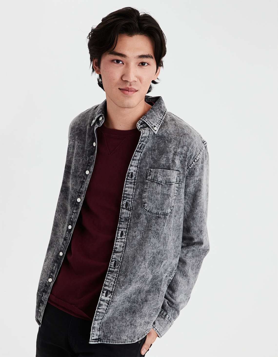 00422cb35cd AE Long Sleeve Black Acid Wash Denim Button Down Shirt. Placeholder image.  Product Image