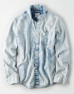 AE Long Sleeve Acid Wash Denim Button Up Shirt