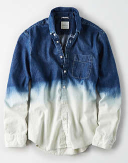 AE Long Sleeve Dip Dye Denim Button Up Shirt