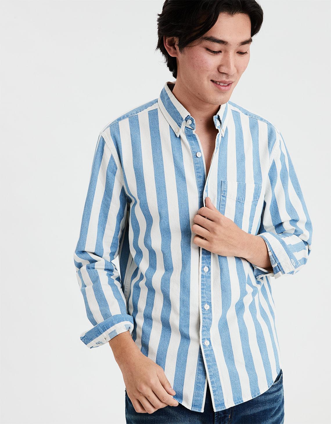 e6ea38849 AE Long Sleeve Striped Denim Button Down Shirt, Medium Vintage Wash ...