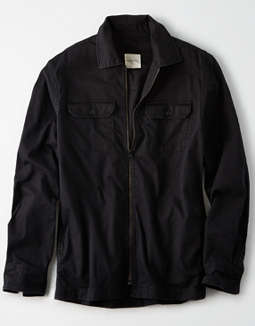 AE Twill Zip-Up Overshirt
