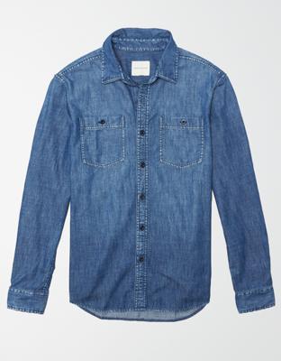 AE Long-Sleeve Denim Work Shirt