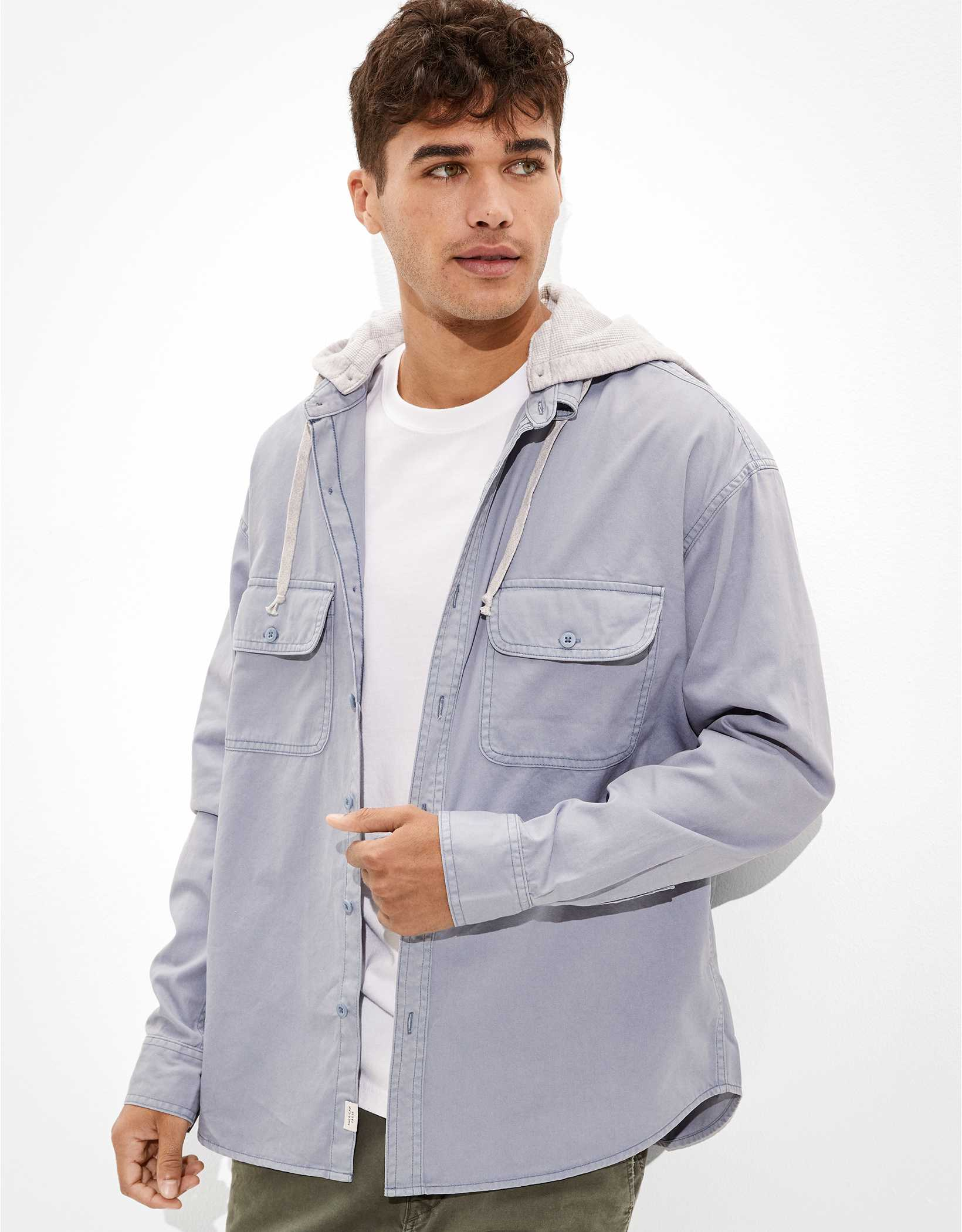 AE Super Soft Hooded Button-Up Shirt