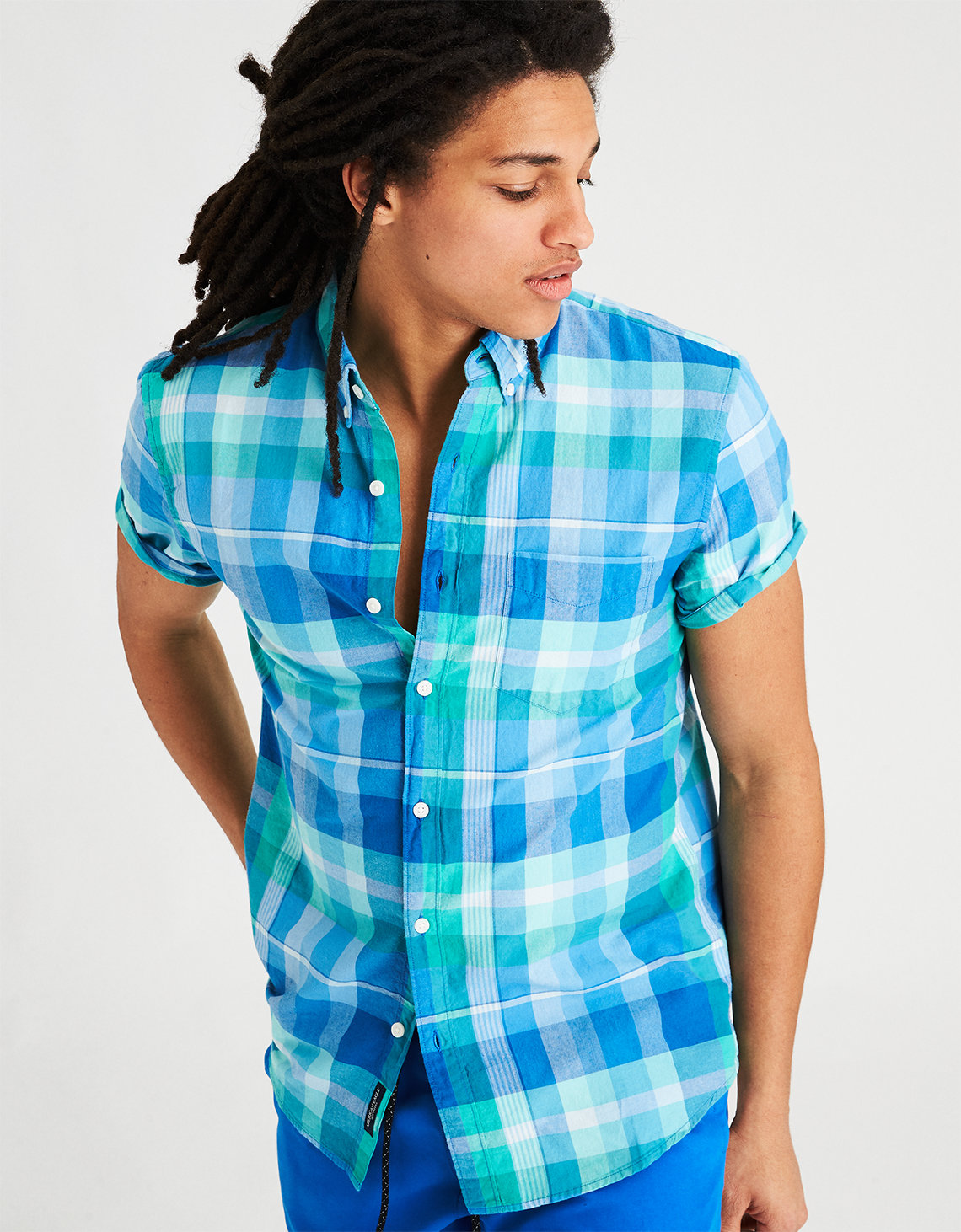 AE Short Sleeve Madras Shirt. Placeholder image. Product Image