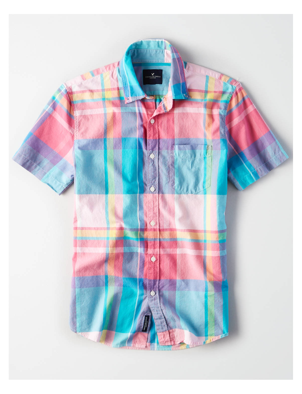 Display product reviews for AE Short Sleeve Madras Shirt