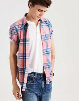 Ae Plaid Poplin Button Down Shirt by American Eagle Outfitters