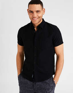 Camisa Oxford De Mangas Cortas Lavada Ae by American Eagle Outfitters