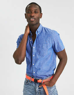 Ae Printed Chambray Button Down Shirt by American Eagle Outfitters
