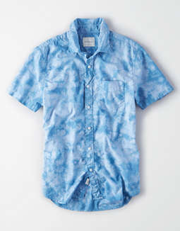 AE Short Sleeve Tie-Dye Poplin Button Up Shirt