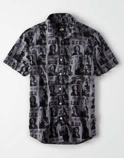 AE X Bob Marley Short Sleeve Button Up Shirt