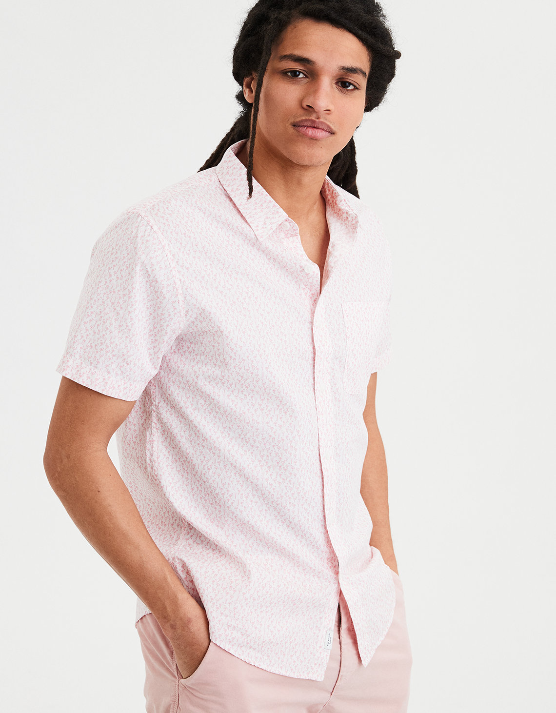 3de2119ad7a4 AE Short Sleeve Poplin Button Down Shirt. Placeholder image. Product Image