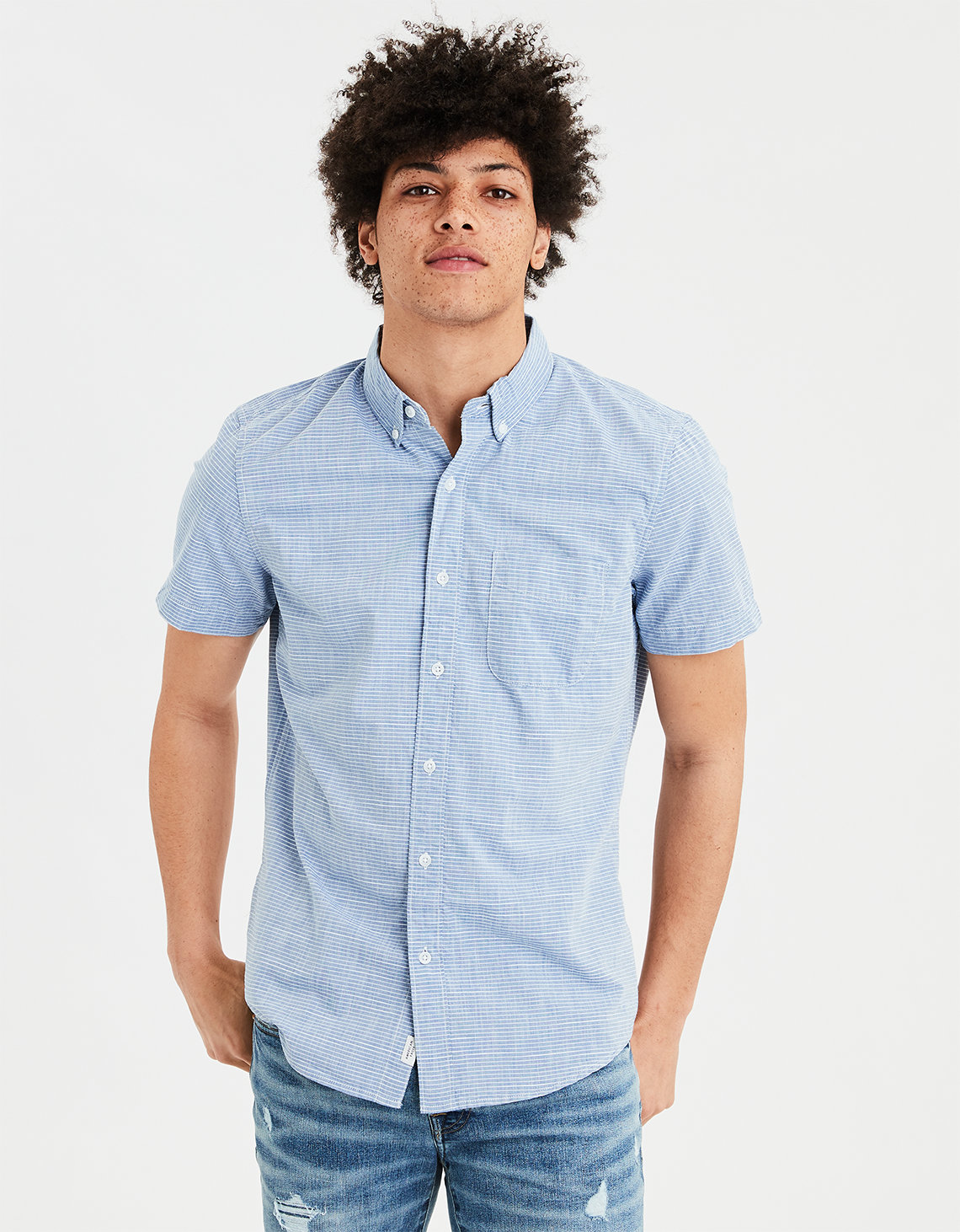 82f0193c AE Short Sleeve Striped Button Down Shirt. Placeholder image. Product Image
