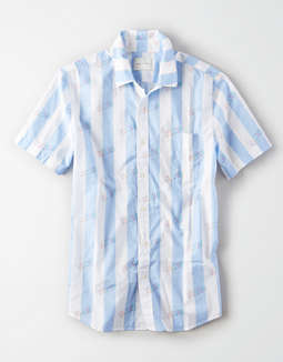 AE Short Sleeve Striped Button Up Shirt