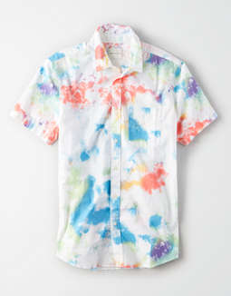 AE Short Sleeve Tie-Dye Button Up Shirt