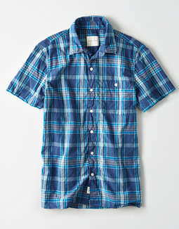 AE Short Sleeve Plaid Madras Button Up Shirt