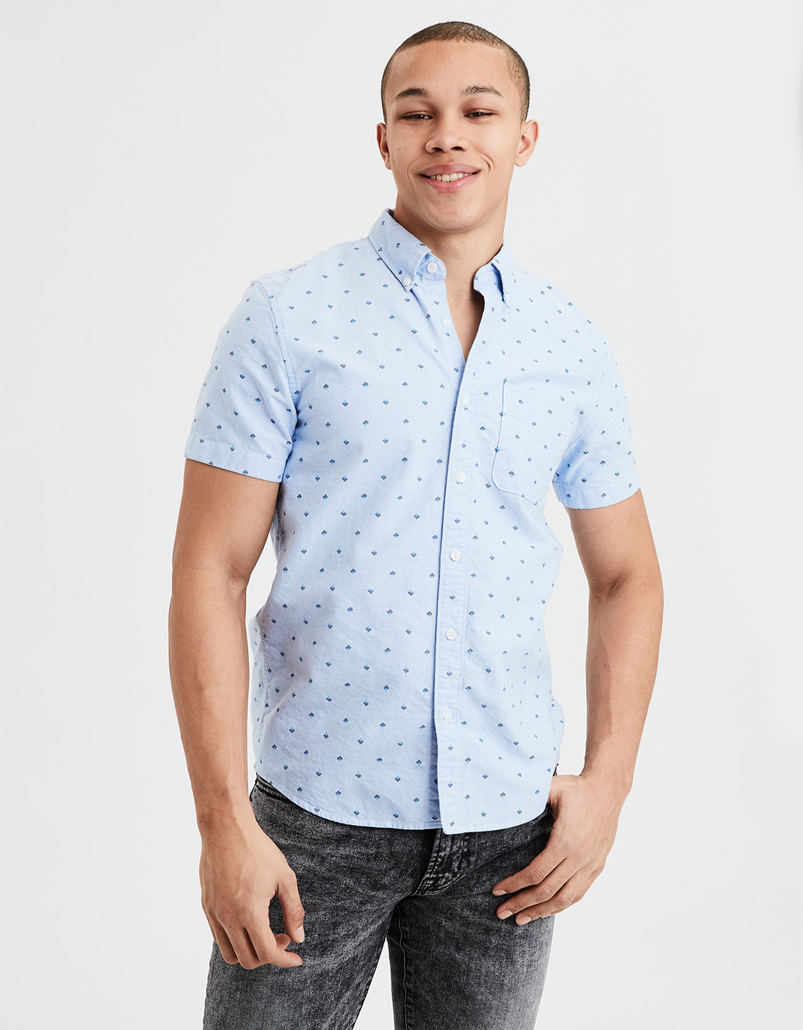 201bfd518c41 AE Short Sleeve Oxford Button Down Shirt. Placeholder image. Product Image