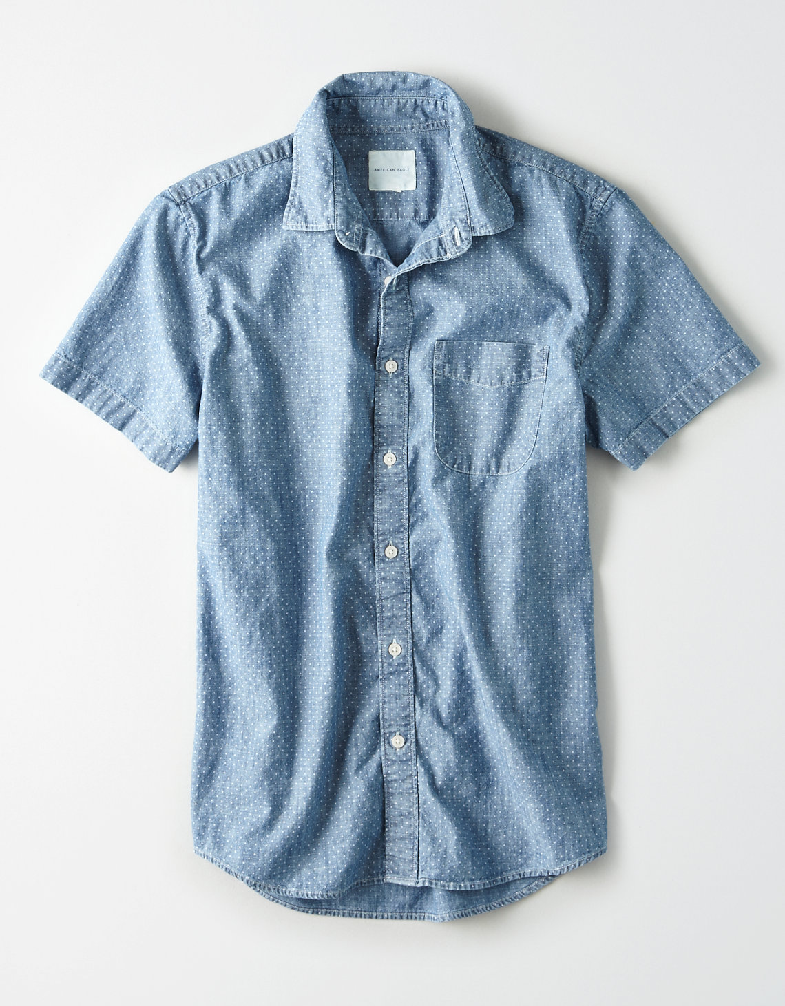 AE Short Sleeve Lightweight Denim Button Up Shirt