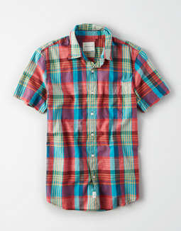 AE Short Sleeve Cotton Slub Button Up Shirt