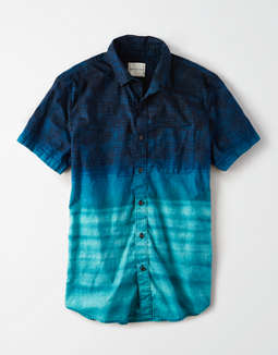 AE Short Sleeve Dip Dye Button Up Shirt