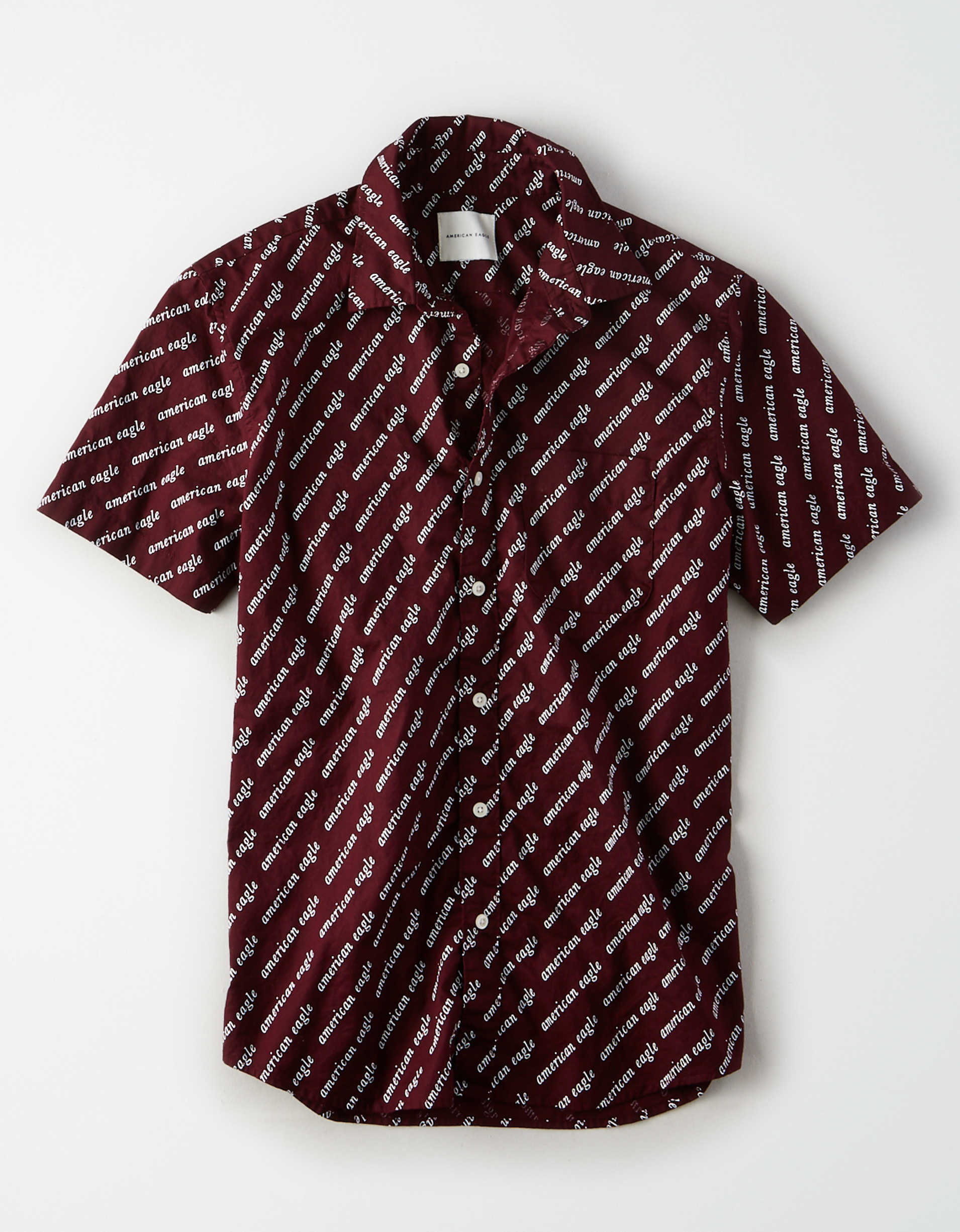 AE Short Sleeve Graphic Button Up Shirt