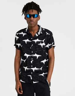 Ae Hawaiian Cotton Slub Short Sleeve Shirt by American Eagle Outfitters