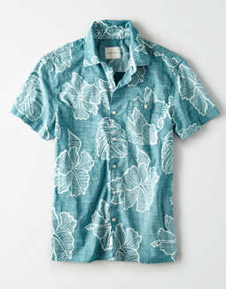 AE Hawaiian Cotton Slub Short Sleeve Button Up Shirt