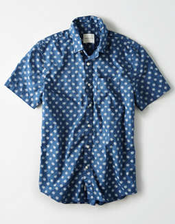 AE Poplin Short Sleeve Button Up Shirt