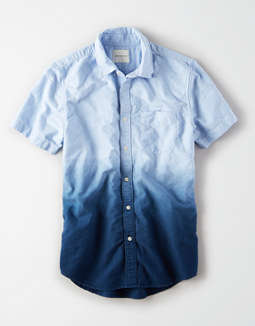 AE Short Sleeve Dip Dye Oxford Button Up Shirt