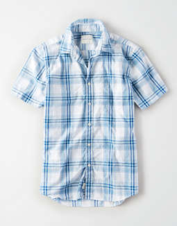 AE Short Sleeve Poplin Button Up Shirt