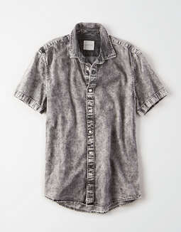 AE Short Sleeve Acid Wash Denim Shirt