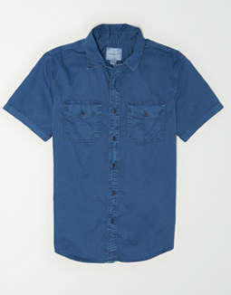 AE Short Sleeve Twill Button Up Shirt