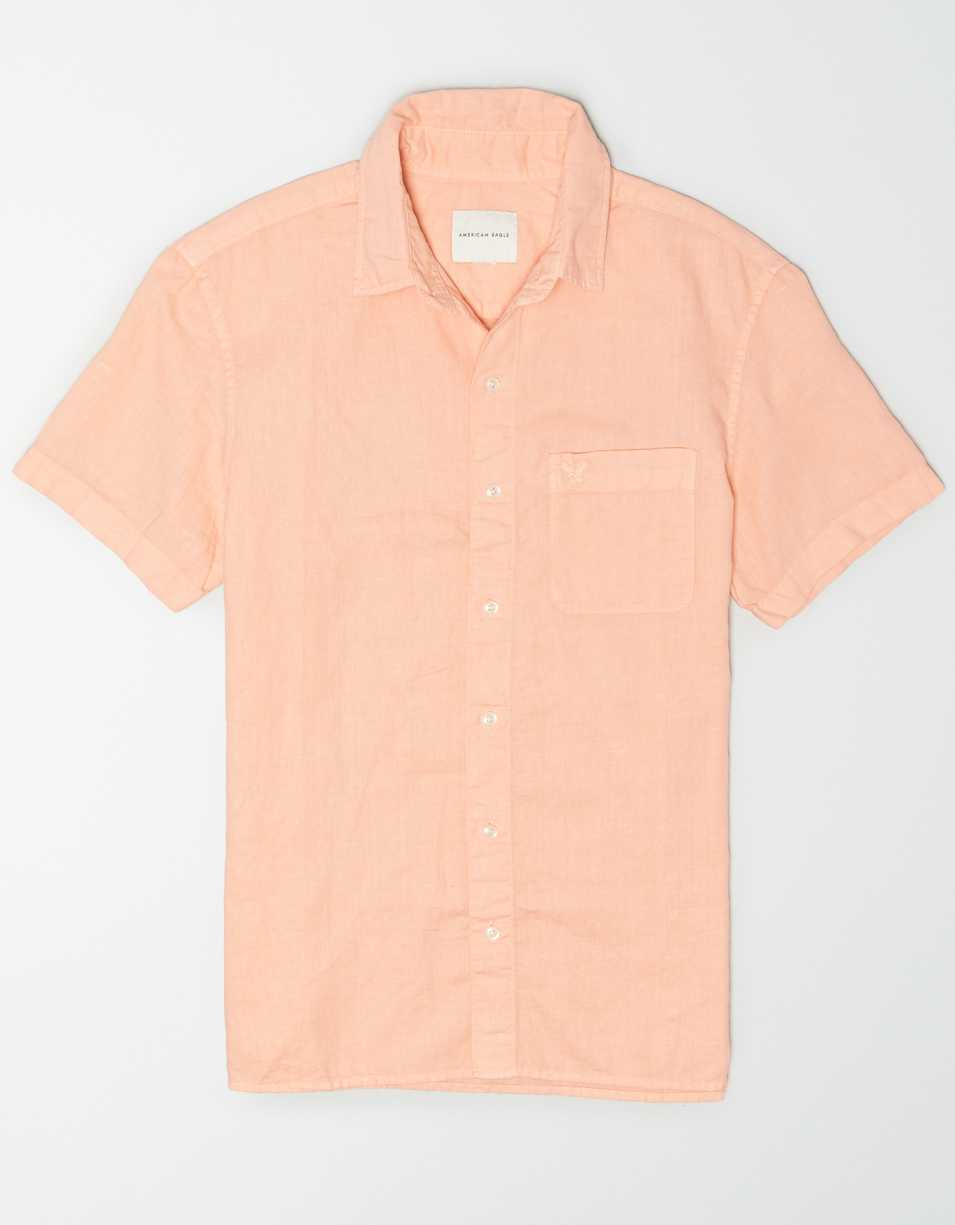 AE Linen Short-Sleeve Button-Up Shirt