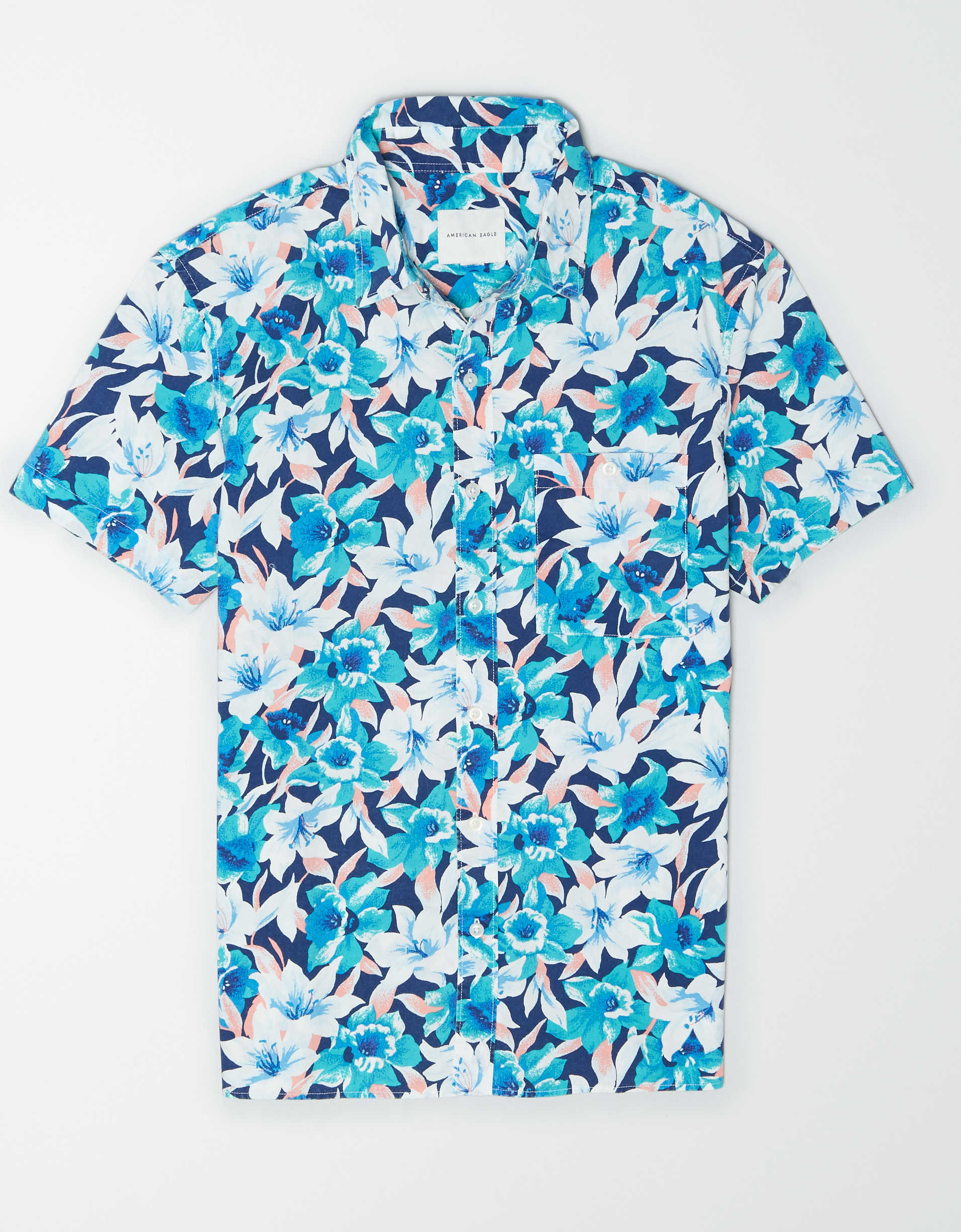 AE Tropical Print Short-Sleeve Button-Up Shirt