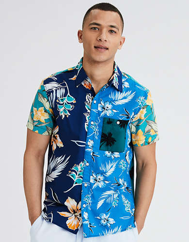 AE Tropical Patchwork Short-Sleeve Button-Up Shirt