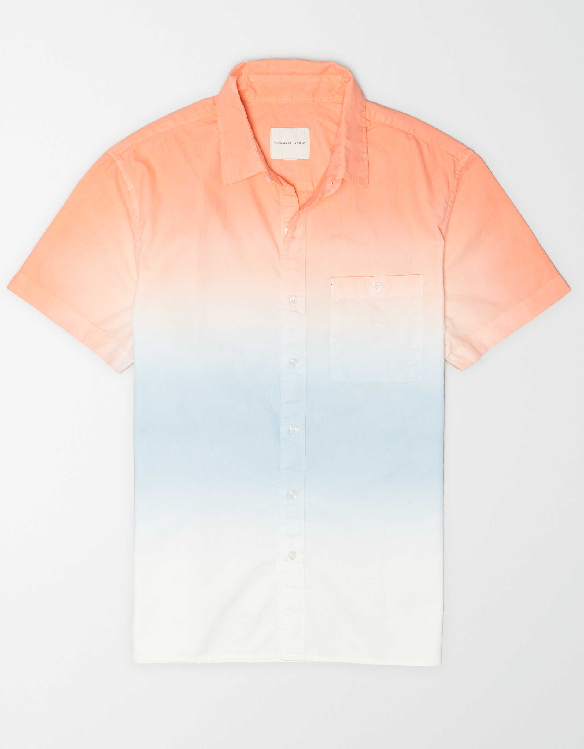 AE Short-Sleeve Dip-Dye Button-Up Shirt