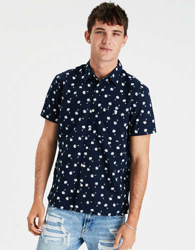 AE Palm Print Short Sleeve Button-Up Shirt