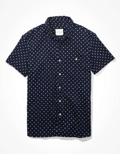 AE Short-Sleeve Poplin Button-Up Shirt