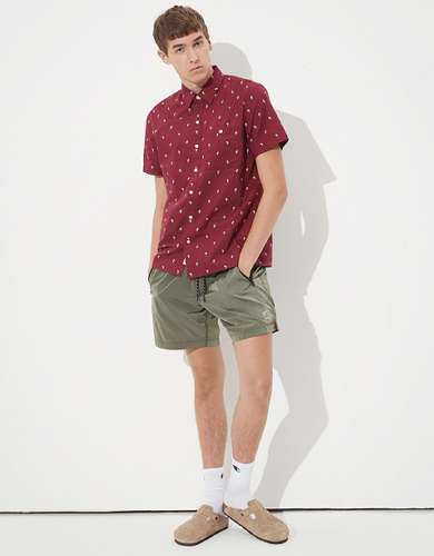 AE Tropical Print Short Sleeve Button-Up Shirt